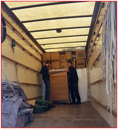 Inside a removal van